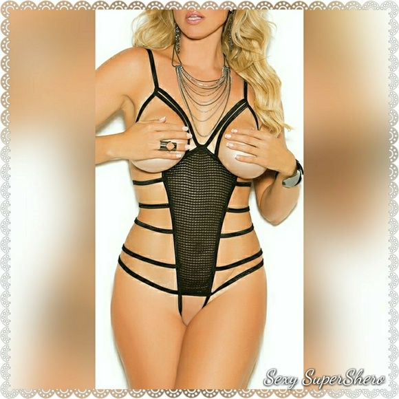 fe18fe28638 🚨Sexy Strappy Cupless Teddy Crotchless Lingerie
